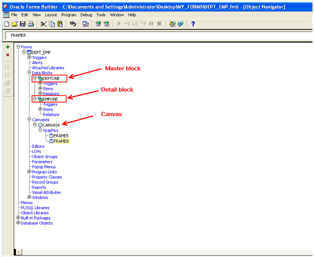 master detail relationship in oracle forms developer